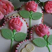 """Свадебный салон ручной работы. Ярмарка Мастеров - ручная работа """"Pink Roses"""" пряники свадебные сердечки.. Handmade."""