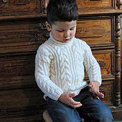 Работы для детей, ручной работы. Ярмарка Мастеров - ручная работа Шерстяной вязаный детский белый свитер. Рост 104  см, 4-5 лет.. Handmade.