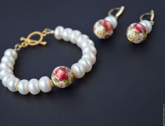 """Браслеты ручной работы. Ярмарка Мастеров - ручная работа. Купить """"Алая роза II"""": браслет. Жемчуг, тенша, позолота Вермейль-Vermeil. Handmade."""