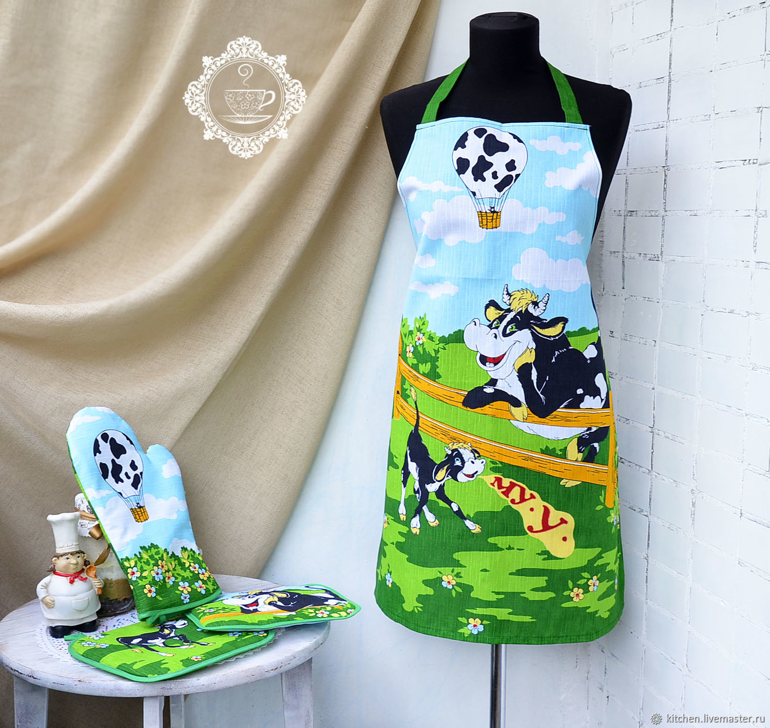 aprons: Apron and potholders Bulls and cows, Aprons, Moscow,  Фото №1