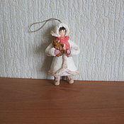 Подарки к праздникам ручной работы. Ярмарка Мастеров - ручная работа Девочка с мишкой. Ватные елочные игрушки. Handmade.