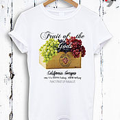 Одежда handmade. Livemaster - original item White cotton t-shirt with fruit print -TEE10018CT. Handmade.