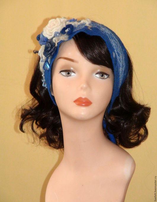 """Повязки ручной работы. Ярмарка Мастеров - ручная работа. Купить Повязка полоска на голову """" Снежная королева """" синяя голубая шерсть. Handmade."""