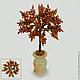 Волшебное дерево из янтаря в вазочке из оникса