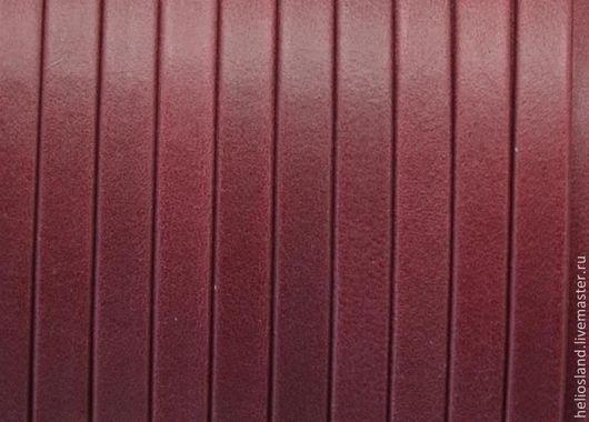 Для украшений ручной работы. Ярмарка Мастеров - ручная работа. Купить Кожаный шнур плоский 5 мм Denver, гранат. Handmade.
