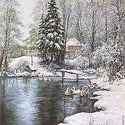 """Картины и панно ручной работы. Ярмарка Мастеров - ручная работа """" Зимний пруд"""". Handmade."""