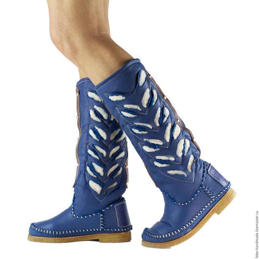 Обувь ручной работы. Ярмарка Мастеров - ручная работа. Купить Зимние сапоги на овчине INDIANINI /39-40 в наличие/синие/. Handmade.