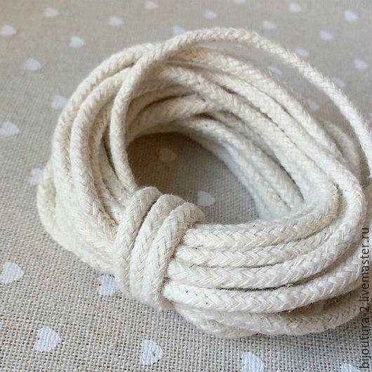 Для украшений ручной работы. Ярмарка Мастеров - ручная работа. Купить Шнур (арт.х1)  хлопковый, 4 мм, натуральный белый. Handmade.