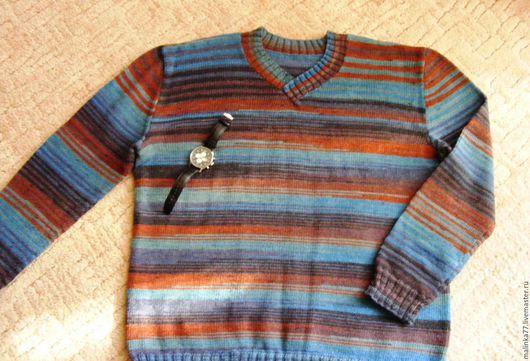 Для мужчин, ручной работы. Ярмарка Мастеров - ручная работа. Купить Мужской пуловер.. Handmade. Свитер вязаный, теплая одежда