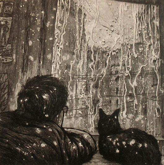 Люди, ручной работы. Ярмарка Мастеров - ручная работа. Купить Человек и кошка. Handmade. Черный, гравюра, эстамп, графика, хозяин