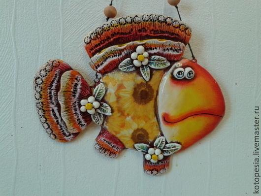 Подвески ручной работы. Ярмарка Мастеров - ручная работа. Купить рыба в цветочек.. Handmade. Желтый, панно на стену, цветы, шнур
