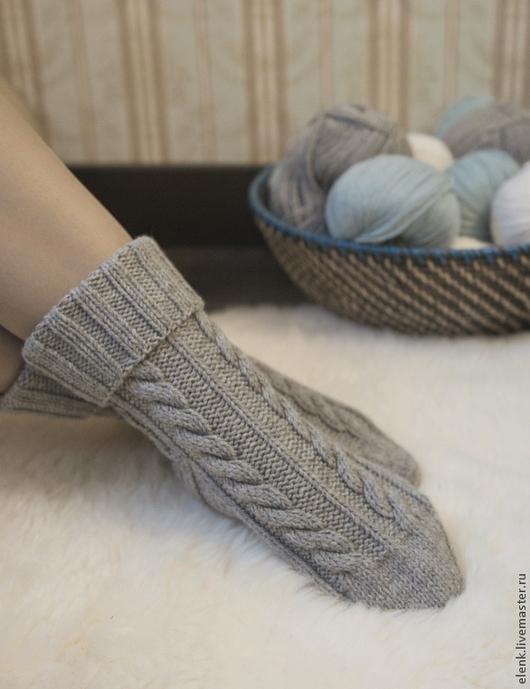 Носки вязаные Village (серый меланж). Носки, чулки ручной работы. Elen_K. Ярмарка Мастеров.