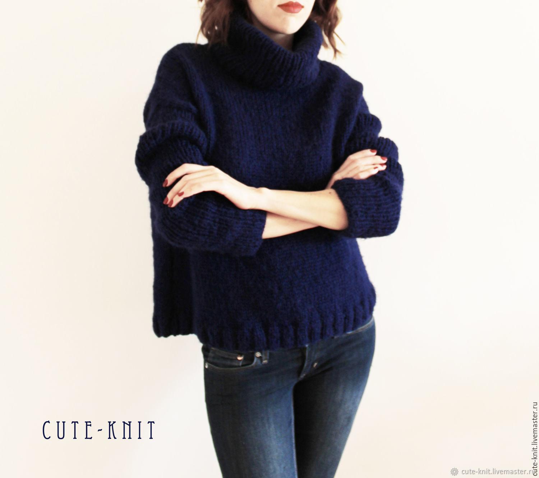 Women's sweater knitted blue mohair, Sweaters, Yerevan,  Фото №1