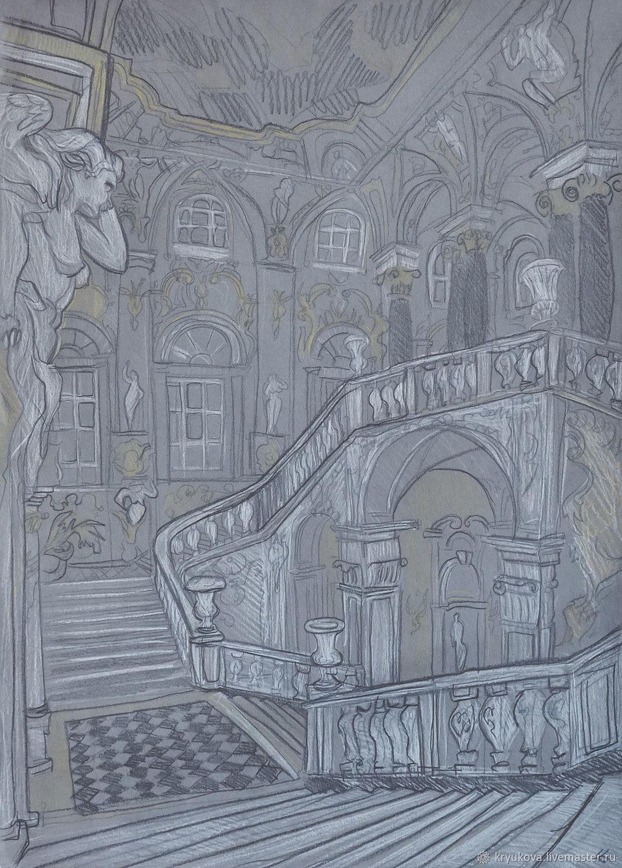 «В Зимнем дворце» Картина Петербург город интерьер ...  Простой Интерьер Рисунок