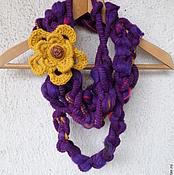 Аксессуары ручной работы. Ярмарка Мастеров - ручная работа Вязаный шарф украшение Фиолет. Handmade.