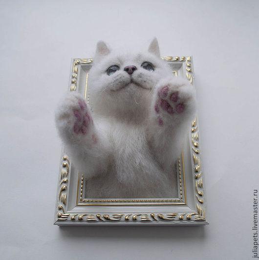 Котенок Панно из шерсти Оригинальный подарок