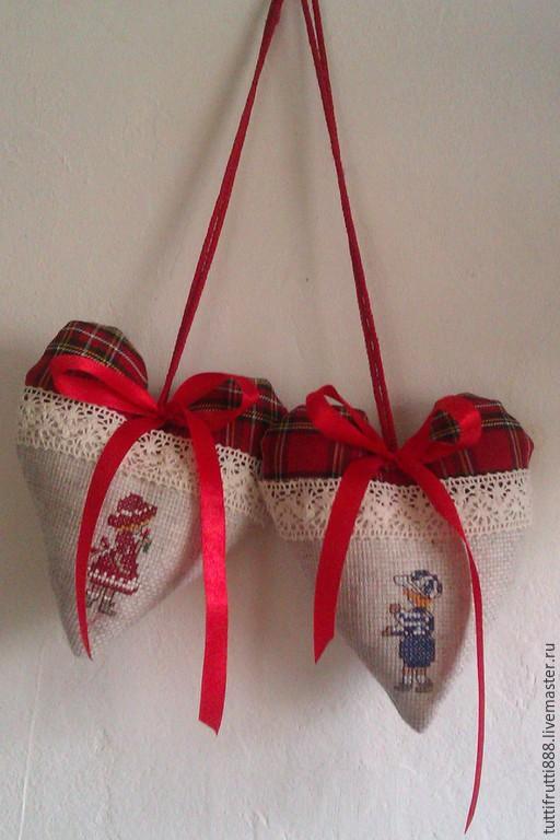 Сердечки с вышивкой Первая любовь, Подарки, Санкт-Петербург, Фото №1