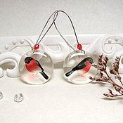 Украшения handmade. Livemaster - original item Transparent Earrings Birds Earrings Hearts Red White Black Forest. Handmade.