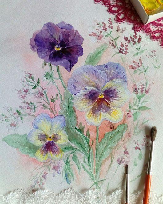 Картины цветов ручной работы. Ярмарка Мастеров - ручная работа. Купить Фиалки в цвету. Handmade. Акварель, фиалки, фиолетовый, подарок