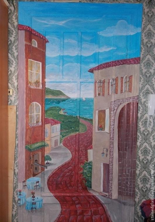 Дома у моря Картина-обманка на двери Роспись акриловыми красками Художник Екатерина Макарова