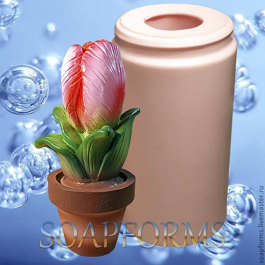 Силиконовая форма для мыла `Тюльпан в горшочке`