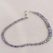 Bead bracelet handmade. Livemaster - original item Bracelet silver tennis natural tanzanite. Handmade.