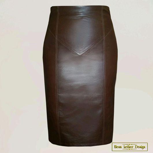 Юбки ручной работы. Ярмарка Мастеров - ручная работа. Купить Кожаная юбка-карандаш с завышенной талией и разрезом (коричневая). Handmade.