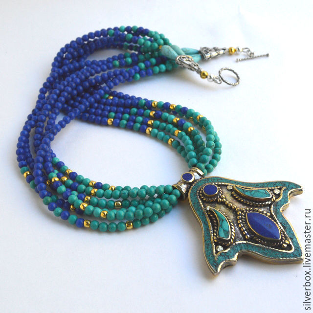 Necklace in ethnic style boho style Handmade