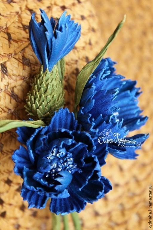 Броши ручной работы. Ярмарка Мастеров - ручная работа. Купить Цветы из кожи луговые васильки -брошь. Handmade. Синий