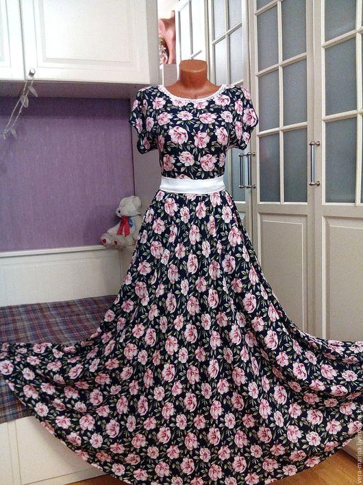 Платья ручной работы. Ярмарка Мастеров - ручная работа. Купить Штапельное платье в пол Вивьен 3. Handmade. Цветочный