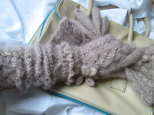 Варежки, митенки, перчатки ручной работы. Ярмарка Мастеров - ручная работа. Купить Перчатки с рукавами Ажурные. Handmade. Бежевый