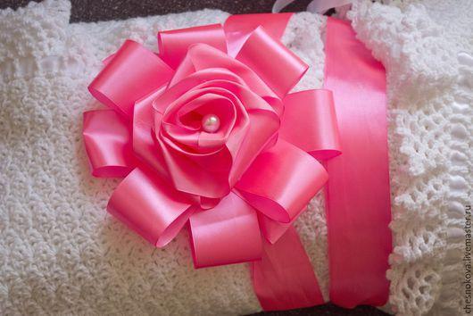 """Для новорожденных, ручной работы. Ярмарка Мастеров - ручная работа. Купить Бант на выписку""""аленький цветочек"""". Handmade. Розовый, бантики для девочек"""