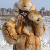 Fur Coats handmade. Livemaster - original item The coat of the Siberian red Fox . Hooded. Solid.. Handmade.