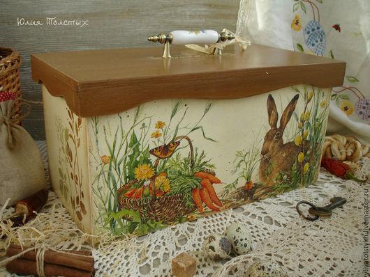 """Кухня ручной работы. Ярмарка Мастеров - ручная работа. Купить Короб для хлеба """"Счастливый кролик"""". Handmade. Коричневый, для хлеба, кролики"""
