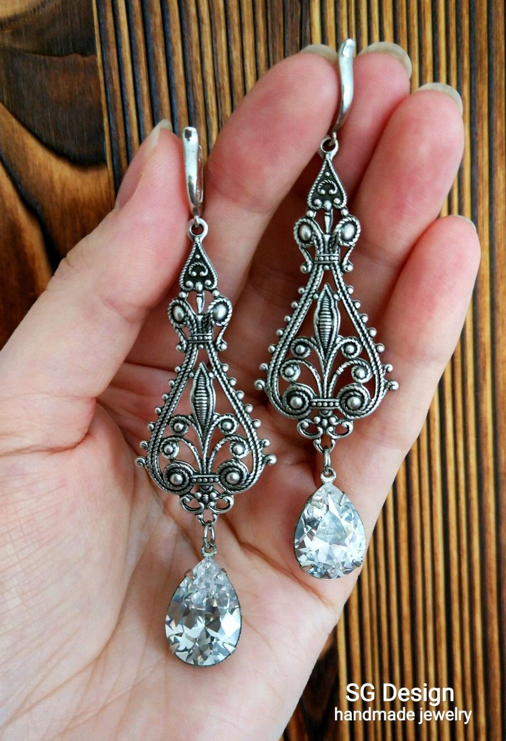 Silver earrings 'Benedicta' cubic Zirconia, schwenza silver 925, Earrings, Yalta,  Фото №1