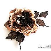 Украшения handmade. Livemaster - original item rose leather coffee chocolate dream flower skin caramel flower. Handmade.