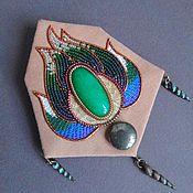 Украшения handmade. Livemaster - original item Brooch BOUQUET of POSEIDON aventurine, pyrite, beads, GIMP, embroidery floss. Handmade.
