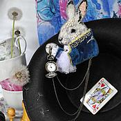 "Украшения handmade. Livemaster - original item Brooch with clock ""Forward the white rabbit!"". Handmade."