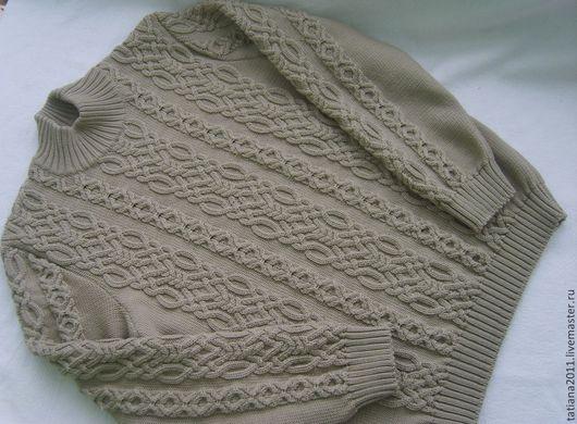 Большие размеры ручной работы. Ярмарка Мастеров - ручная работа. Купить женский пуловер из мериноса и кашемира. Handmade. Бежевый, кашемировый