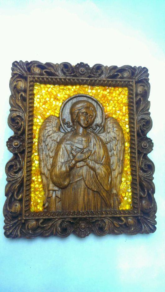 Иконы ручной работы. Ярмарка Мастеров - ручная работа. Купить Ангел в резной раме с янтарём.#2. Handmade. Икона, панно