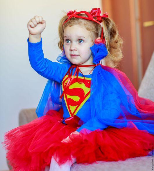 Детские карнавальные костюмы ручной работы. Ярмарка Мастеров - ручная работа. Купить Костюм supergirl. Handmade. Ярко-красный, костюм