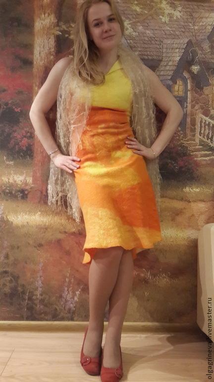 """Платья ручной работы. Ярмарка Мастеров - ручная работа. Купить Валяное платье """"Оранж"""". Handmade. Оранжевый, валяный сарафан"""
