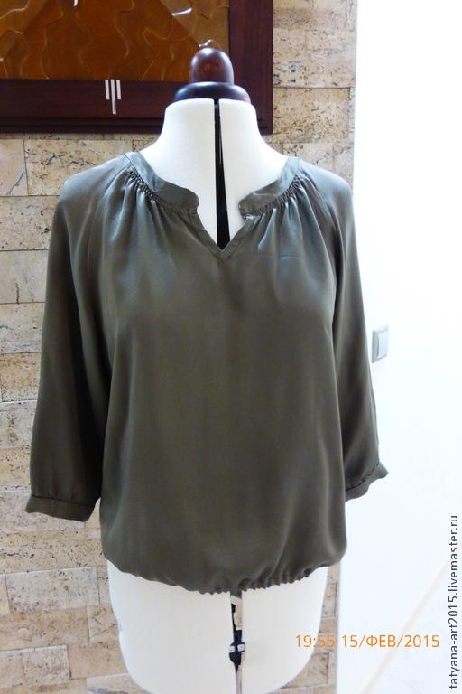 Блузки ручной работы. Ярмарка Мастеров - ручная работа. Купить Блузка из натурального шелка цвет хаки. Handmade. Хаки, шелк