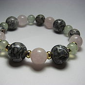 Украшения handmade. Livemaster - original item Bracelet rose quartz, prehnite and grey Jasper