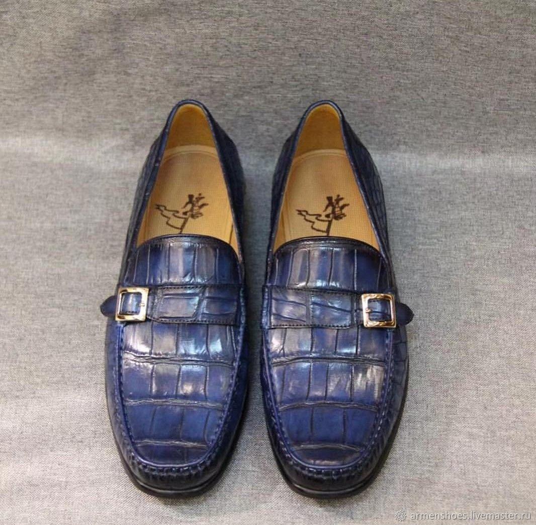 Мужские туфли - лоферы, из кожи крокодила, синий цвет, Обувь, Тосно, Фото №1