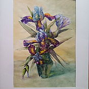 Картины и панно ручной работы. Ярмарка Мастеров - ручная работа ирисы в вазе. Handmade.