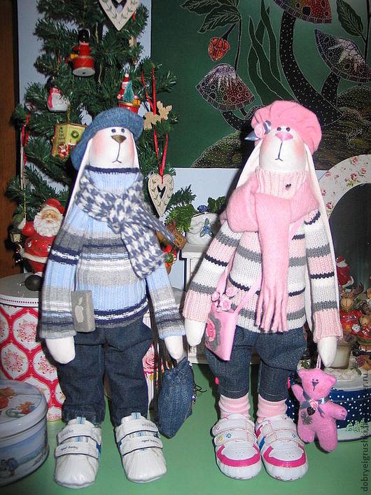 Куклы Тильды ручной работы. Ярмарка Мастеров - ручная работа. Купить Зайцы -Тильда  Фрэнк и Люси. Handmade. Розовый