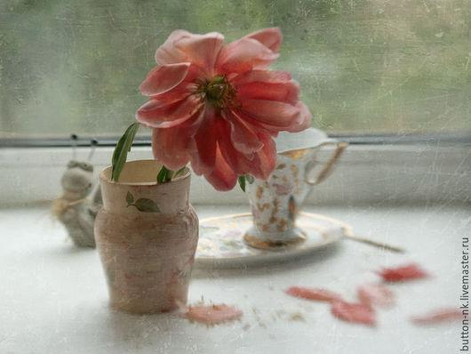 Фотокартины ручной работы. Ярмарка Мастеров - ручная работа. Купить Натюрморт Утро начинается с улыбки - пион в вазе на окне. Handmade.