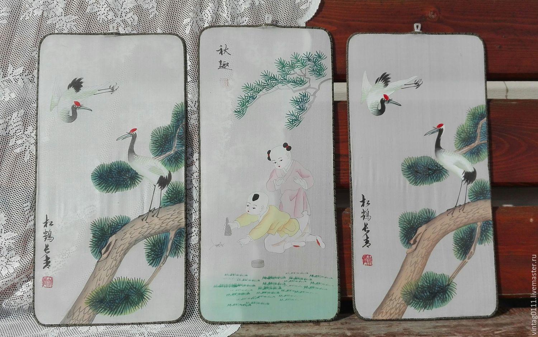 ...триптих картин-панно,  традиционная китайская ручная роспись на шелке!!!