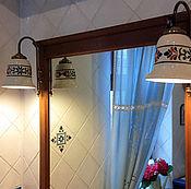 Для дома и интерьера handmade. Livemaster - original item Fixtures in the bathroom painted in a pattern on the tile. Handmade.